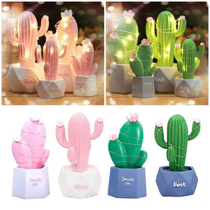Resin Cactus LED Table Night Light Kids Room Lamp