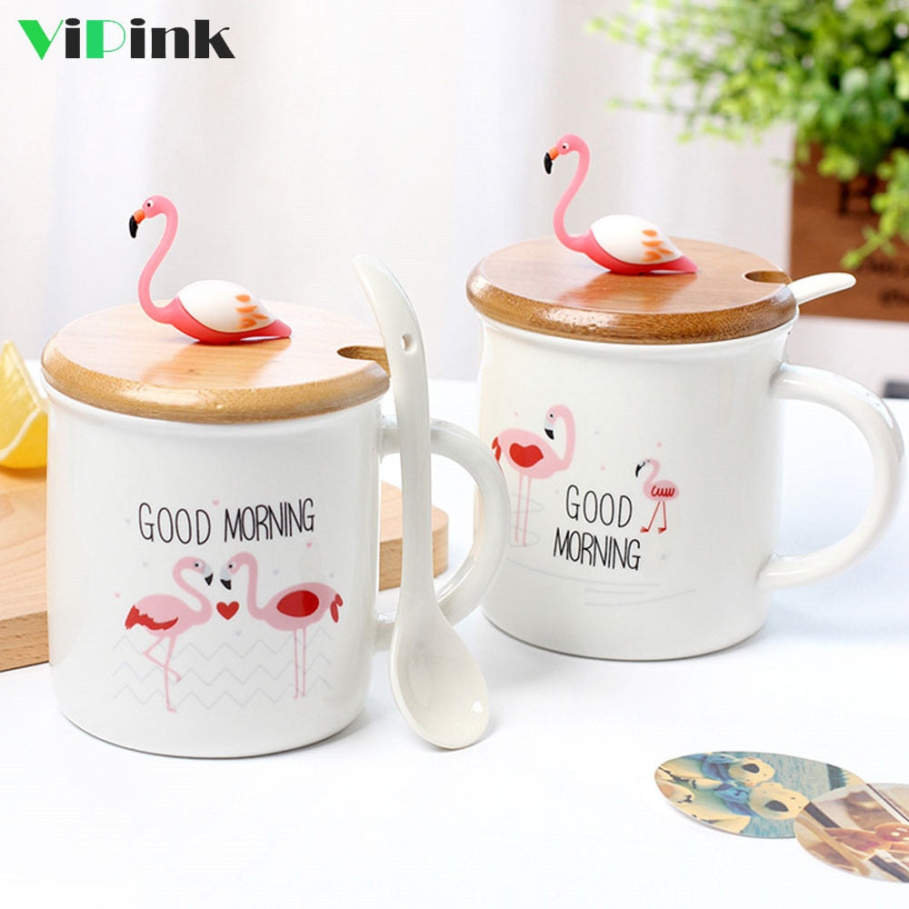 Cute Good Morning Flamingo Ceramic Coffee Mug Cup With Lid And Spoon