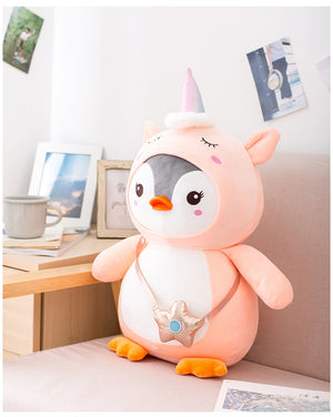 Cute Penguin Cosplay Unicorn Suit Soft Plush Stuffed Doll Gift