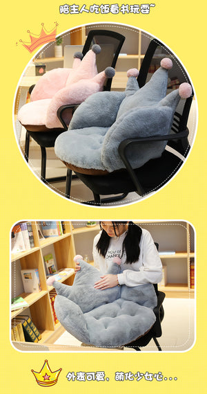 Cartoon Crown Soft Short Plush Chair Sofa Cushion