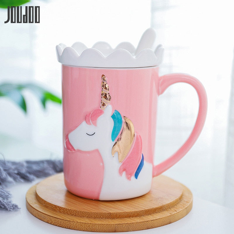 Cute Unicorn Pastel Color Coffee Mug with Ceramic Spoon and Crown Lid