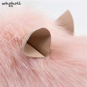 Little Cat Ears Fluffy Fur Indoor Home Slippers Shoes