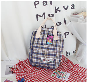 Japanese Soft Chic Sister Plaid Canvas School Bag Backpack