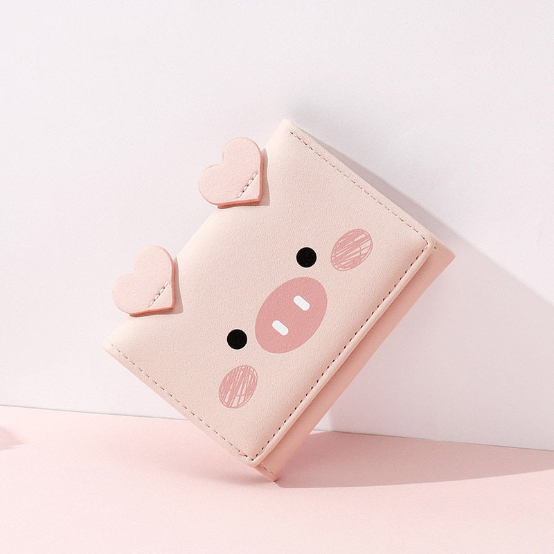 Cartoon Piglet Face Trifold Leather Purse Short Wallet for Girls