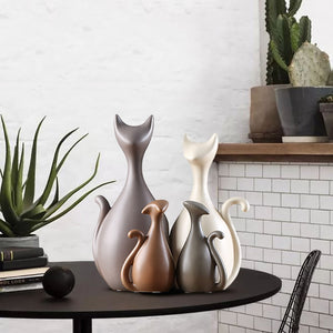Family of Cats Ceramic Figurines Home Decoration Ornaments