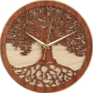 Tree of Life Sacred Wooden Wall Clock Art Decor