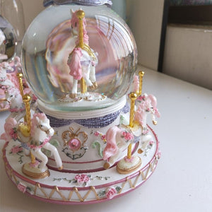 Luxury Carousel Glass Ball Doll with Castle in the Sky Tune Rotate Music Box