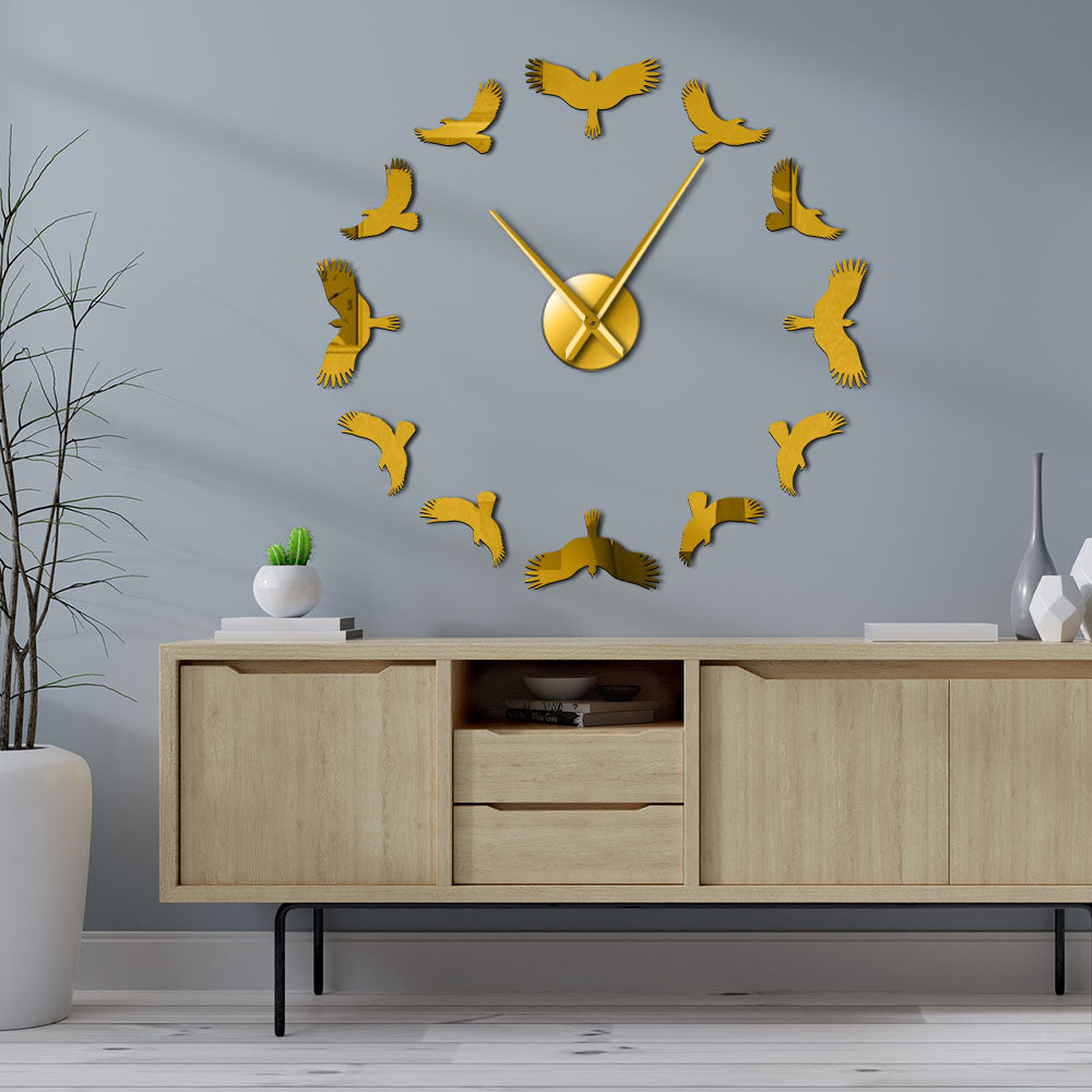 Freedom Flying Birds Large Frameless DIY Wall Clock