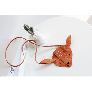 Cute Light Brown Deer Mini Flap Handbags Shoulder Bag for Girls
