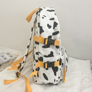 Cute Cow Printing Rucksack School Bag Canvas Backpack for College Girl