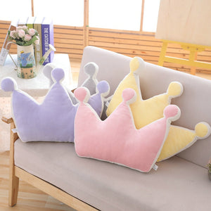 Rainbow Princess Crown Plush Stuffed Pillow for Girl Room Sofa Decor