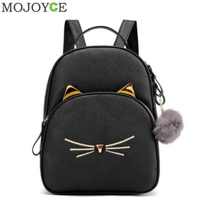 Lovely Kitten Cat Leather Square Satchel Light Shoulder School Bag Backpack