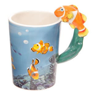 Orange Clown Fish Handle Under Sea Ceramic Coffee Mug Cup