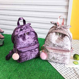 Cute Bow Faux Fur Soft Corduroy Backpack for Girls