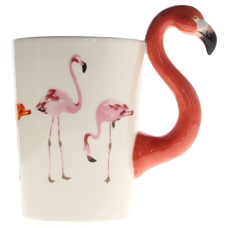 Tropical Flamingo Handle Coffee Mug Cup