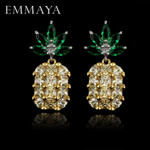 Geometry Pineapple Big Crystal Silver Earrings