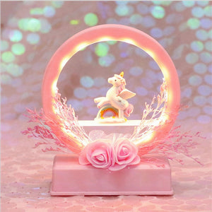 Cartoon Flower Unicorn LED Night Light Lamp Music Box Birthday Gift