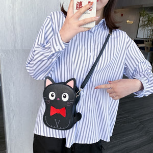 Cartoon Kuuro Black Cat Design Purse Handbags Casual Shoulder Bag