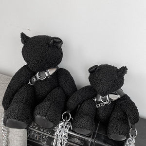 Black Bear Doll Rock Style Plush Wool Handbag Shoulder Bag