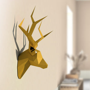 3D Pear Deer Head Animal DIY Paper Craft Model Home Decor Gift
