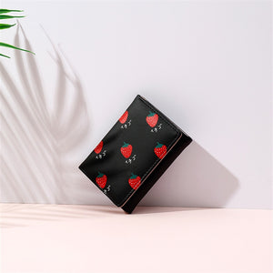 Cute Fruits Leather Purse Folding Card Holder Short Wallet
