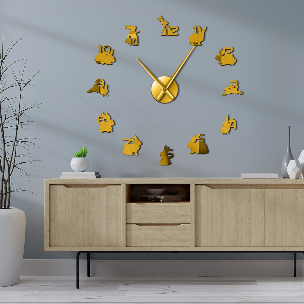 Bunny Rabbit Numbers Large Frameless DIY Wall Clock
