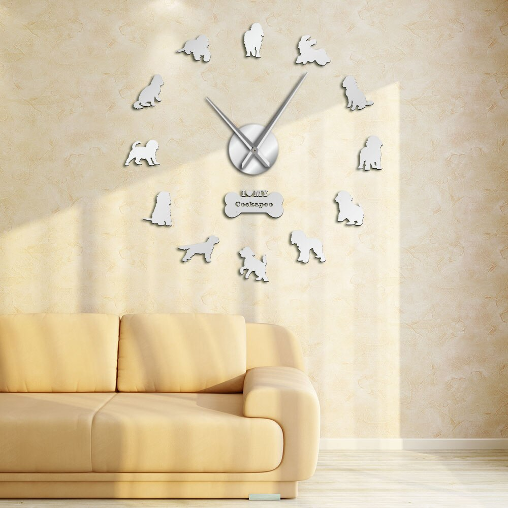 Cockapoo Large Frameless DIY Wall Clock Spoodle Dog Lovers Gift