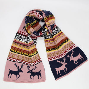Classic Ugly CHristmas Reindee Warm Unisex Knitted Shawls Scarf