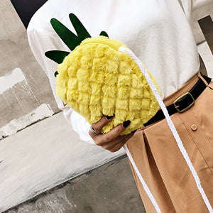 Pineapple Faux Fur Shoulder Bag Purse for Girls