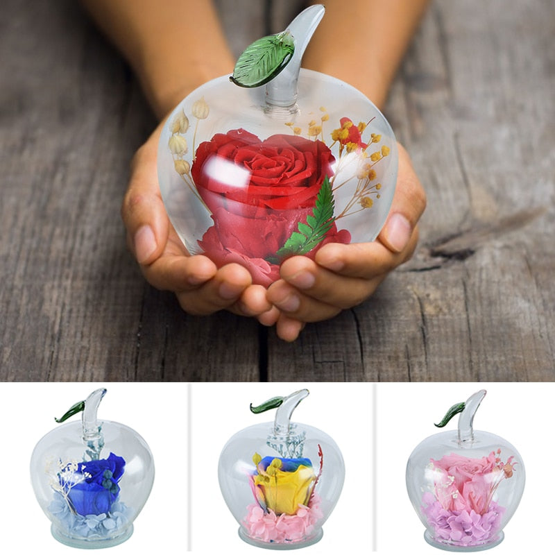 Immortal Rose Flowers In Apple Glass Dome Gift for Girls