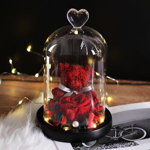 Teddy Bear Rose Flowers In Glass Dome Home Decoration Gifts