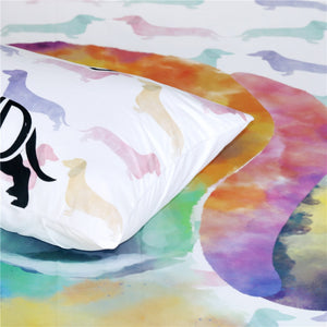 Watercolor Dachshund Duvet Cover Bedding Set