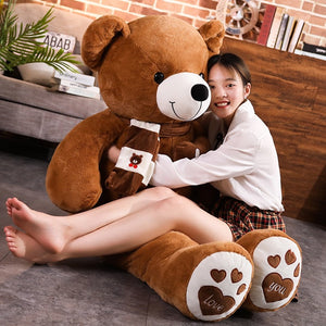 Super Cute Giant Teddy Bear With Scarf Soft Plush Stuffed Toys Doll Pillow
