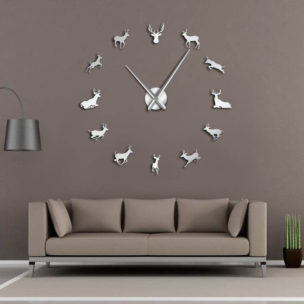Antler Deer Head Deer Hunter Large Frameless DIY Wall Clock