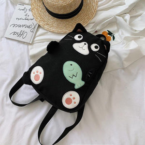 Fashion Black Cat Canvas School Bag Backpack for Teenage Girls