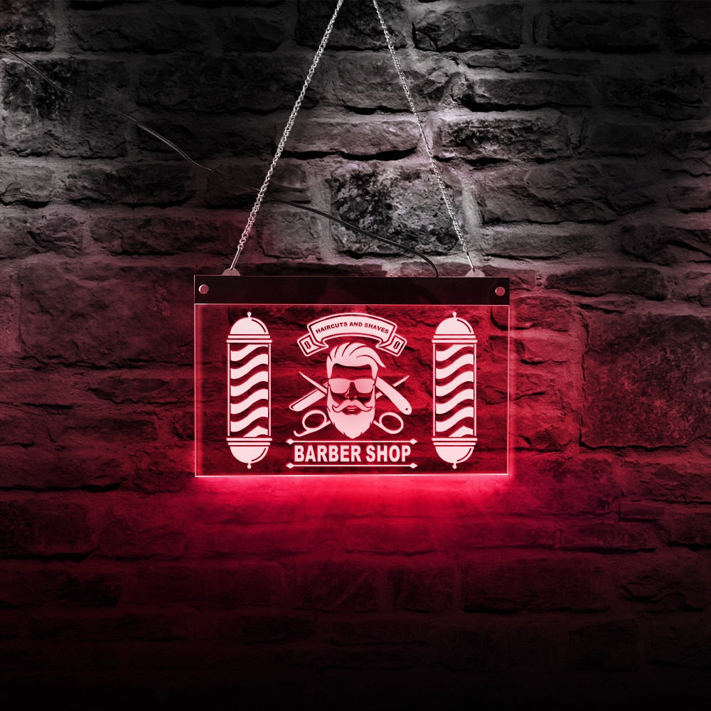 Barber Pole Styling Haircuts And Shaves LED Neon Sign Night Lights