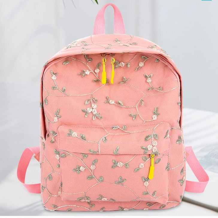 Classic Embroidery Flower Mini Backpack School Bags For Teenage Girls