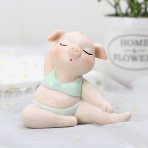 Cute Yoga Pig Resin Crafts Small Ornaments Decoration