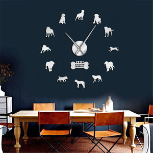 English Mastiff Large Frameless DIY Wall Clock Dog Lover Gift