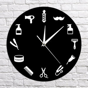 Hair Clippers Comb Razor Pomade Barber Wall Clock