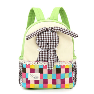 Cute Sleeping Rabbit Bunny Patchwork Style Satchel Backpack for Children