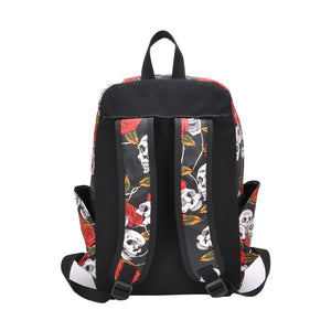 Sugar Skull Rose Floral Large Capacity Canvas Backpack