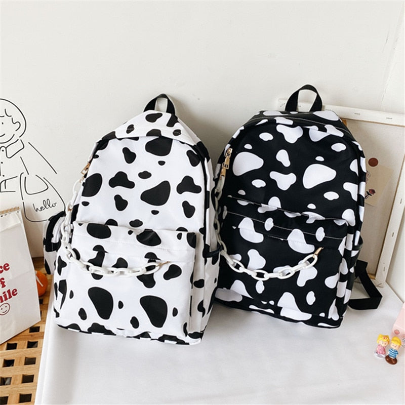 Minimal Cow Pattern Print School Book Bag Backpack for Teenagers
