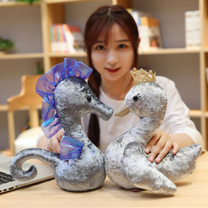 Fluffy Shiny Princess Swan Seahorse Stuffed Doll Toy