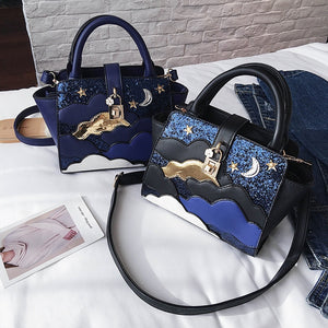 Luxury Midnight Sky Moon Women Leather Handbag Shoulder Bag