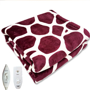 Purple Deer Pattern Electric Heated Warm Blanket