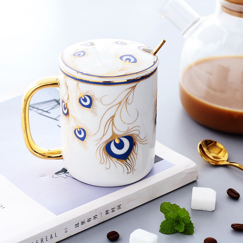 Beautiful Peacock Feather Ceramic Mug Cup