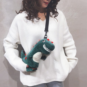 Funny Green Dinosaur Girl Plush Backpack Shoulder Bag