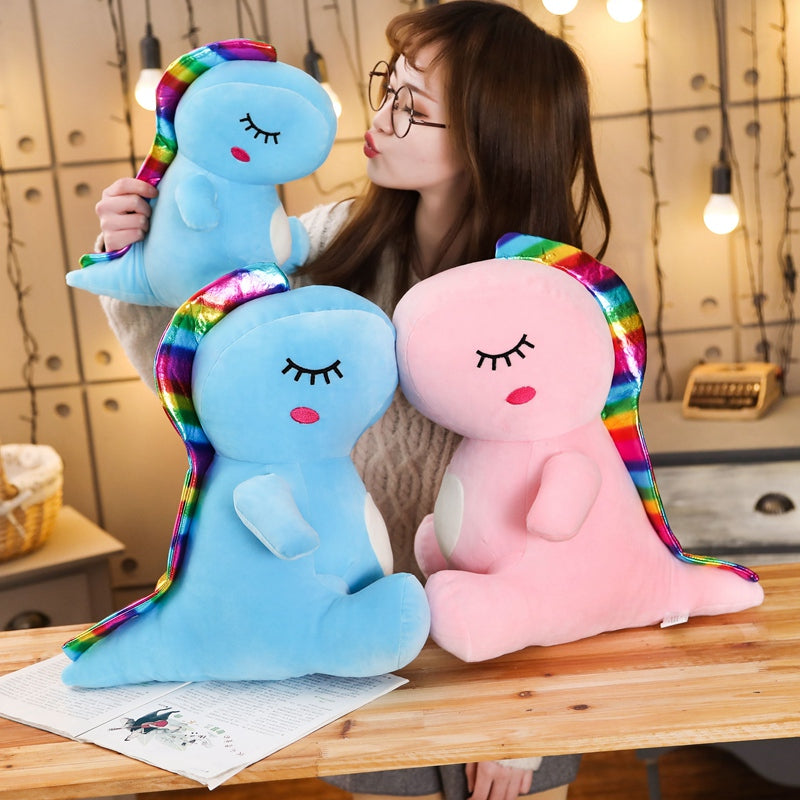 Lovely Rainbow Dinosaur Plush Stuffed Toy Doll
