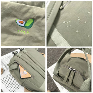 Minimal Fruit embroidery Japanese Text College Backpack School Bag